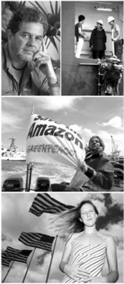 From top, upper left: Paulo Adario tracks the  mahogany trade; Hillary Hosta and Scott Anderson  board the APL Jade as Greenpeace boats buzz about  the vessel; Hosta contemplates her duty as a U.S.  citizen