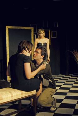 Clockwise from top: Brigitte Kali Canales, David Sirois, and Jehanne Serralles in The House of Yes at Alliance Theatre Lab.