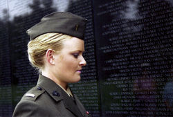 Lieutenant Elle Helmer at the Vietnam War Memorial, US Marine Corps.