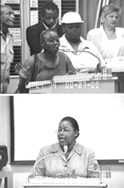 After Teresa James (top) told city commissioners she hated living in her Martinez-owned apartment so much she didn't care for repairs, she just wanted out, Gwendolyn Warren (bottom), director of the city's Office of Community Development, said she would implement a barrage of inspections on the landlord's properties