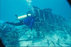 A diver on the site of the Mandalay