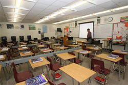 Math teacher Hector Lopez during a lull in his Miami Edison classroom