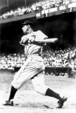 A proud Hank Greenberg cracks one for those who believed he should stay out of the game