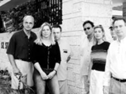 Armando Chapelli, Jr., and Jacqui Huggett (far left) with other concerned parents who support fired St. Stephen's Episcopal Day School principal Carol Shabe