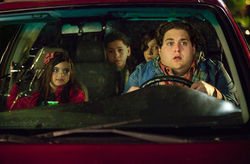 Landry Bender (left), Kevin Hernandez, Max Records, and Jonah Hill in The Sitter.