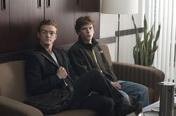 Justin Timberlake and Jesse Eisenberg in The Social Network.