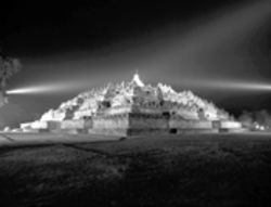 The Borobudur temple in Indonesia is illuminated by the invention of  lighting designer Robert Daniels