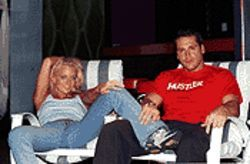 Monica Mayhem and Joey Ray, relaxing after a scene shot inside an Espanola Way club