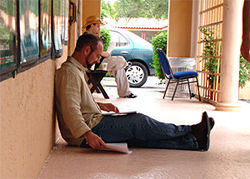 Andy Quiroga studies up outside GableStage.