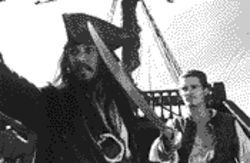 Johnny Depp and Orlando Bloom on the high seas