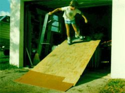 It wasn't long before Robbie made a ramp out of spare  plywood and an old couch