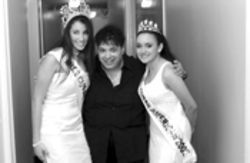 Nathalie Pozo (left), and Justine Llanes (right), handed  over their tiaras in November, after a tumultuous year  with Miss Cuban-American pageant organizer Mario  Princigalli (center)