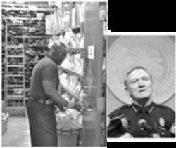 "A vault detail officer (left) at the Miami police headquarters tends to confiscated firearms in whatever you call that room; Chief Timoney (right): ""You'd have to be brain-dead not to audit"""