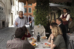Woody Allen and the cast of To Rome With Love.