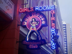 The club&#039;s neon sign on Via Veneto in Panama City.