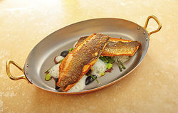 The Tudor House Restaurant&#039;s seared branzino. View a photo slide show of the Tudor House Restaurant.