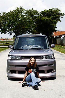 Joanne Braga and her Scion xB.