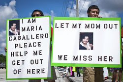 Maria Caballero's family also fights for her freedom.