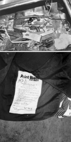 An arsenal belonging to the John Does was found in a car trunk along with a Miami Police Department bulletproof vest (bottom)