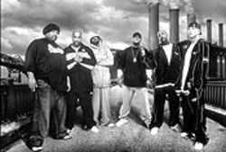 D12's world: Bizarre (left), Swift, Proof, Kon Artis, Kuniva, and Eminem