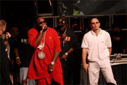 Rick Ross (left, in red), Trick Daddy, and Pitbull represent  for the 305 in O-Town