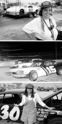 Kelly Keaton (bottom), digs race cars, especially the 30, driven by her friend Bruce Moerlins Jr. Lisa Enright, the Speedways security guard for the last 21 years, keeps the gate into the restricted pit area.