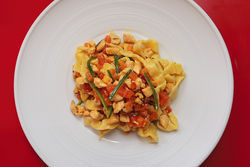 Pappardelle with chicken. View our Vino & Olio slide show.