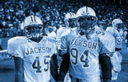 Only a sophomore, Elvis Dumervil (number 94) looks to lead Jackson&#039;s defense next season