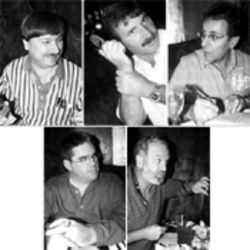 Ex-SPIRIT programmers (clockwise from upper left): Johnny Hoben, Juan Galego, Masood Hussaini, Randy Feigenbaum, and Byron Jones